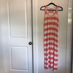 Forever 21 Peach & White Striped Maxi Dress, Small